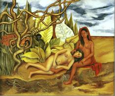 Due donne nude della foresta (1939). Frida Kahlo.